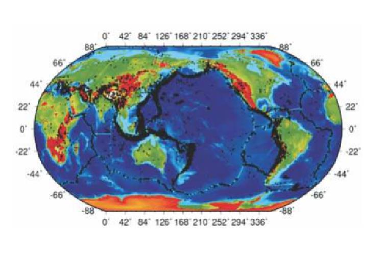 Gempa bumi terkini dunia dinotasikan dengan titik-titik hitam terkonsentrasi pada jalur-jalur tektonik